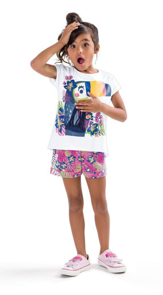 Conjunto Infantil Feminino Branco Tucano Zig Zig Zaa
