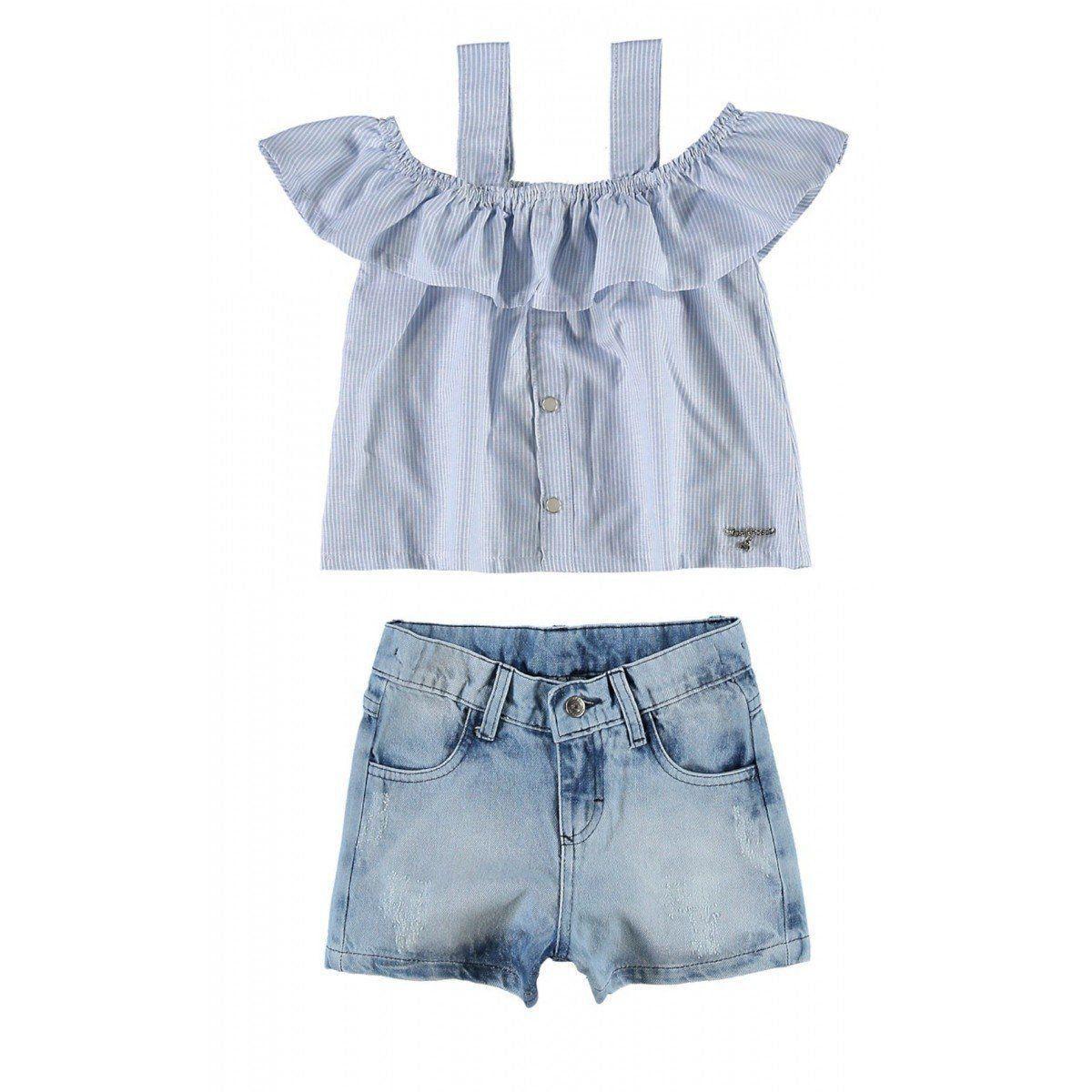 Conjunto Infantil Feminino Ciganinha Jeans Carinhoso