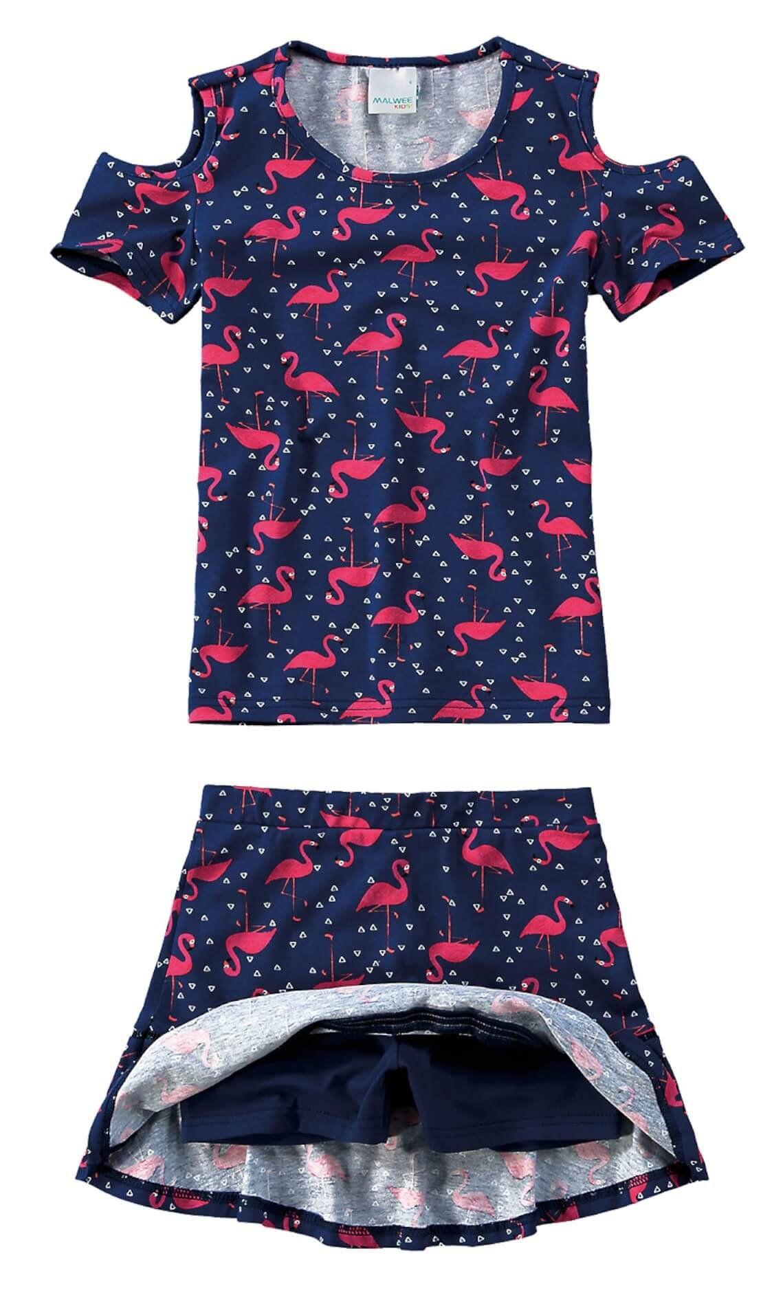 Conjunto Infantil Feminino Azul Flamingo Malwee