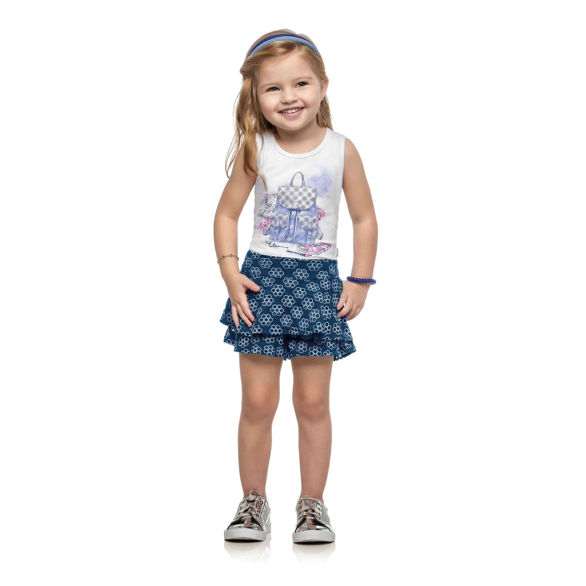Conjunto Infantil Feminino Branco Dear Diary Elian