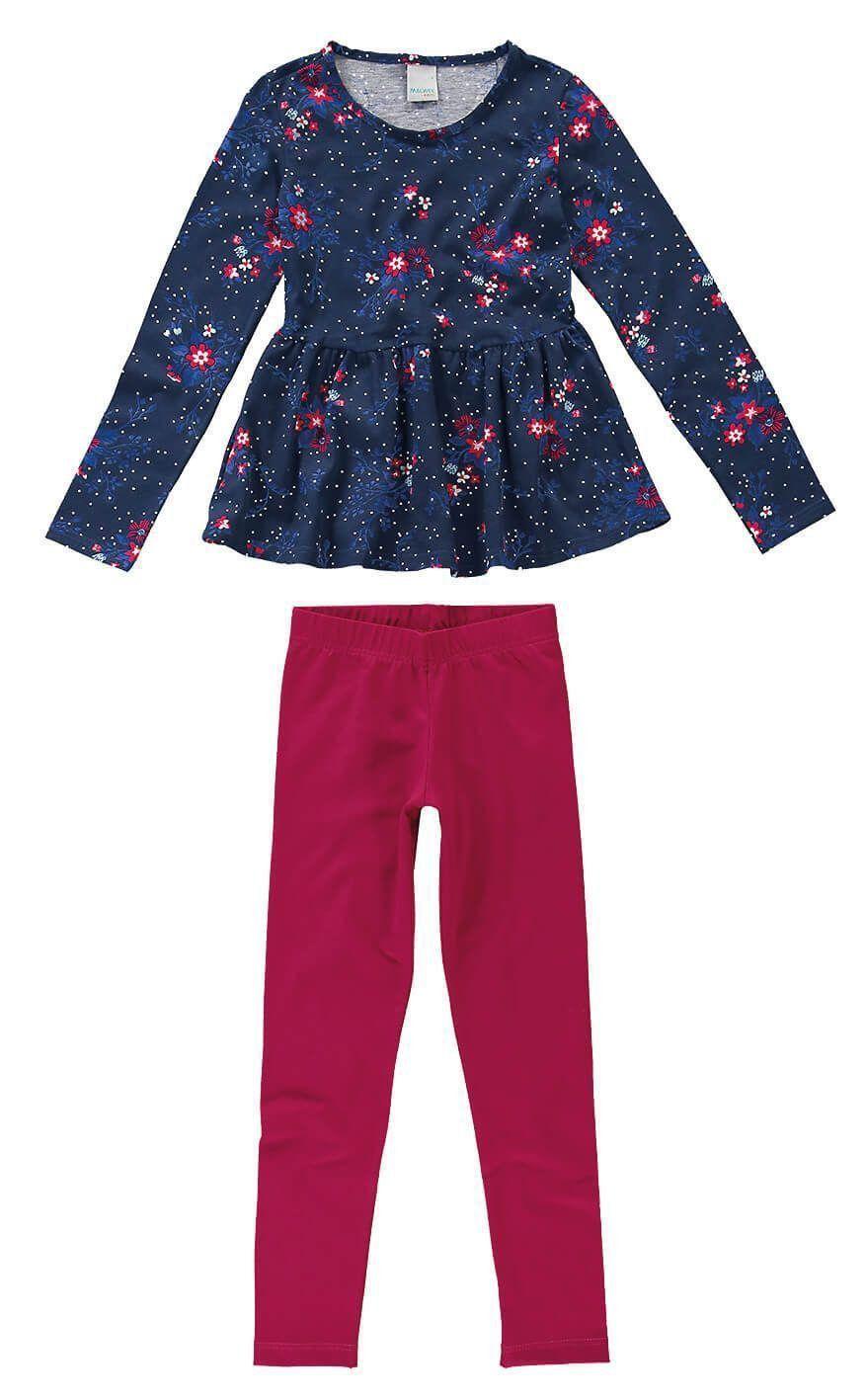 Conjunto Infantil Feminino Inverno Azul Marinho Florzinhas Malwee