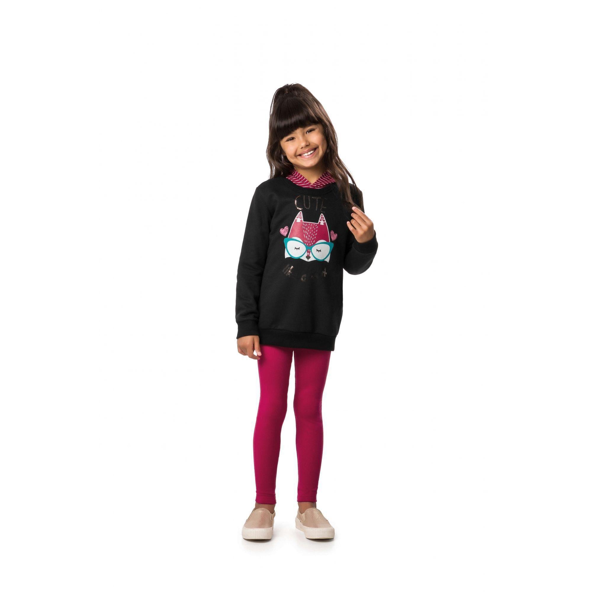 Conjunto Infantil Feminino Inverno Preto Cute Malwee