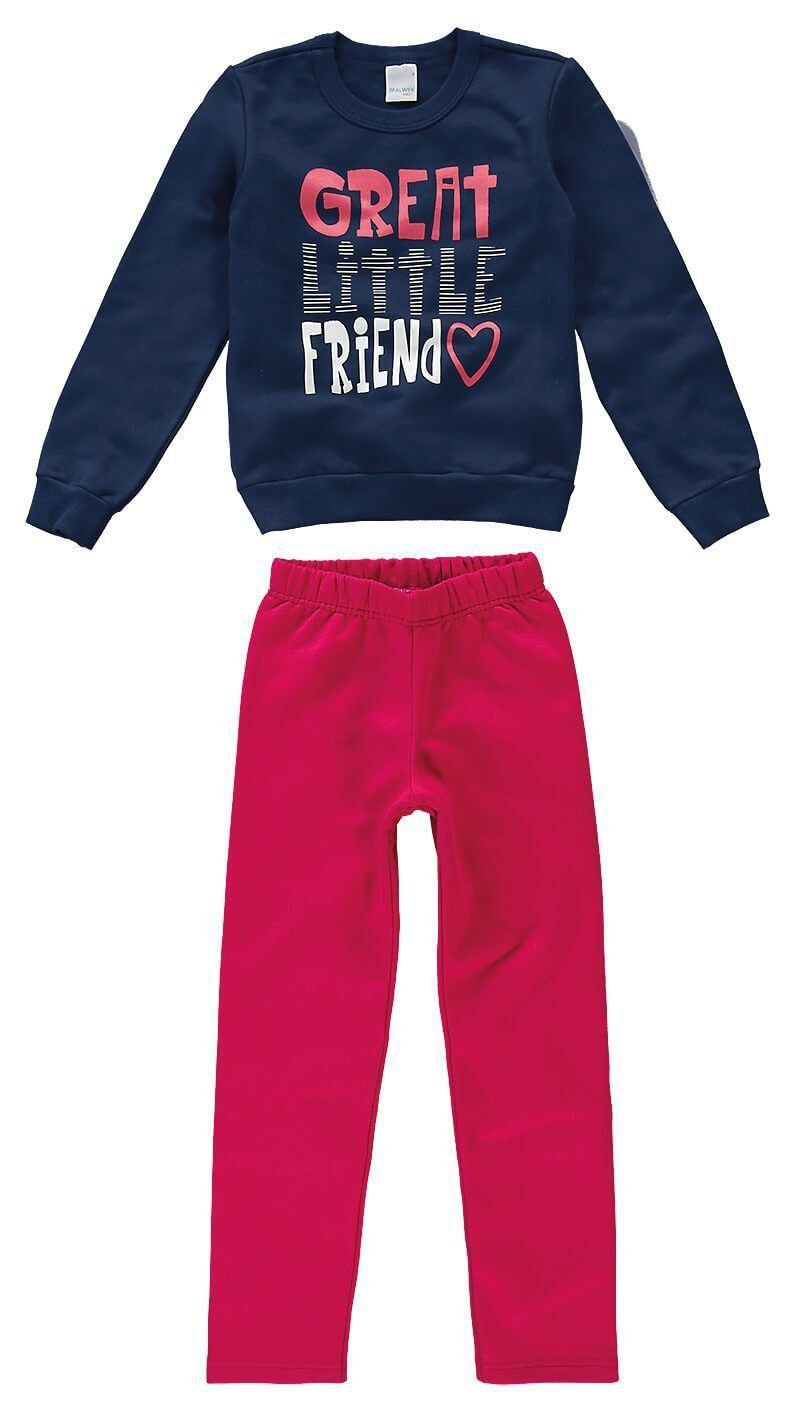 Conjunto Infantil Feminino Inverno Roxo Friend Malwee