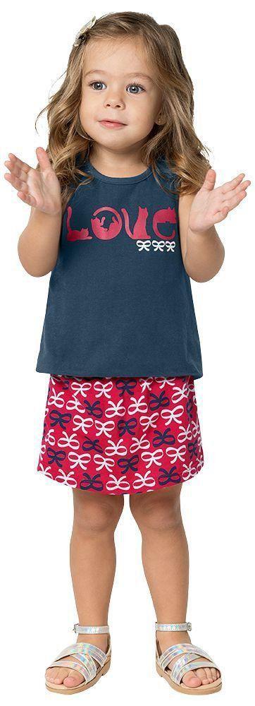 Conjunto Infantil Feminino Marinho Love Kyly