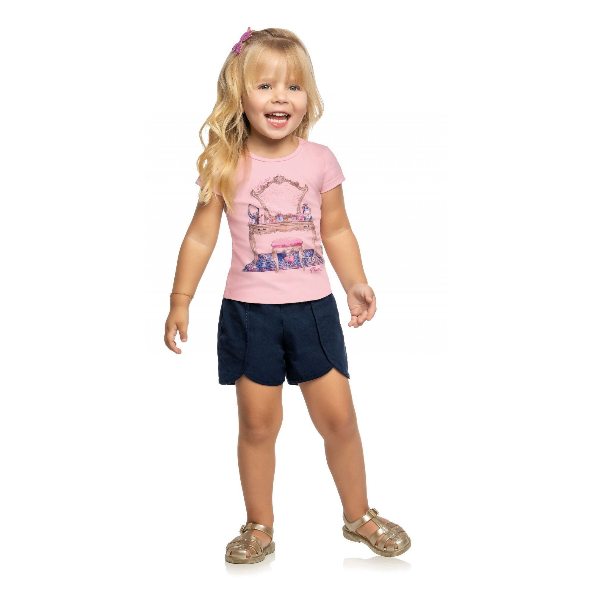 Conjunto Infantil Feminino Rosa I am Beautiful Elian