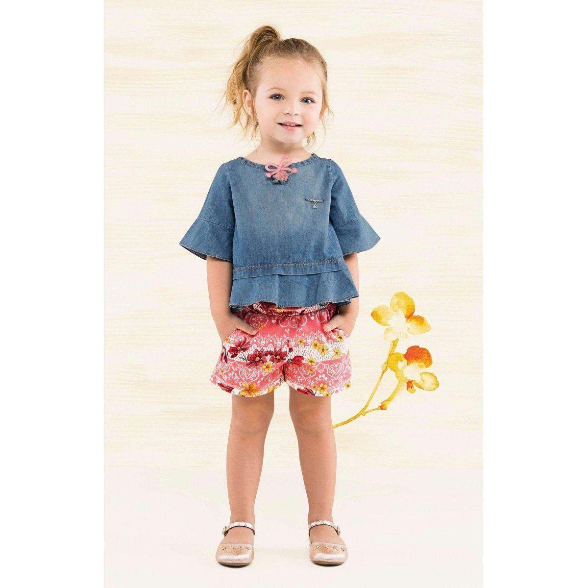 Conjunto Infantil Feminino Jeans Floral Turquesa Floral Carinhoso
