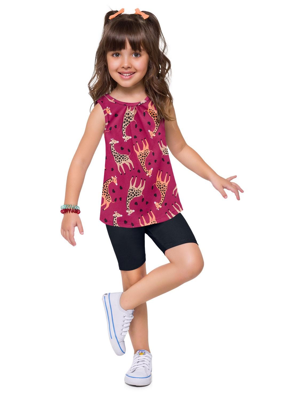 Conjunto Infantil Feminino Short e Camiseta Estampado Magenta - Kyly