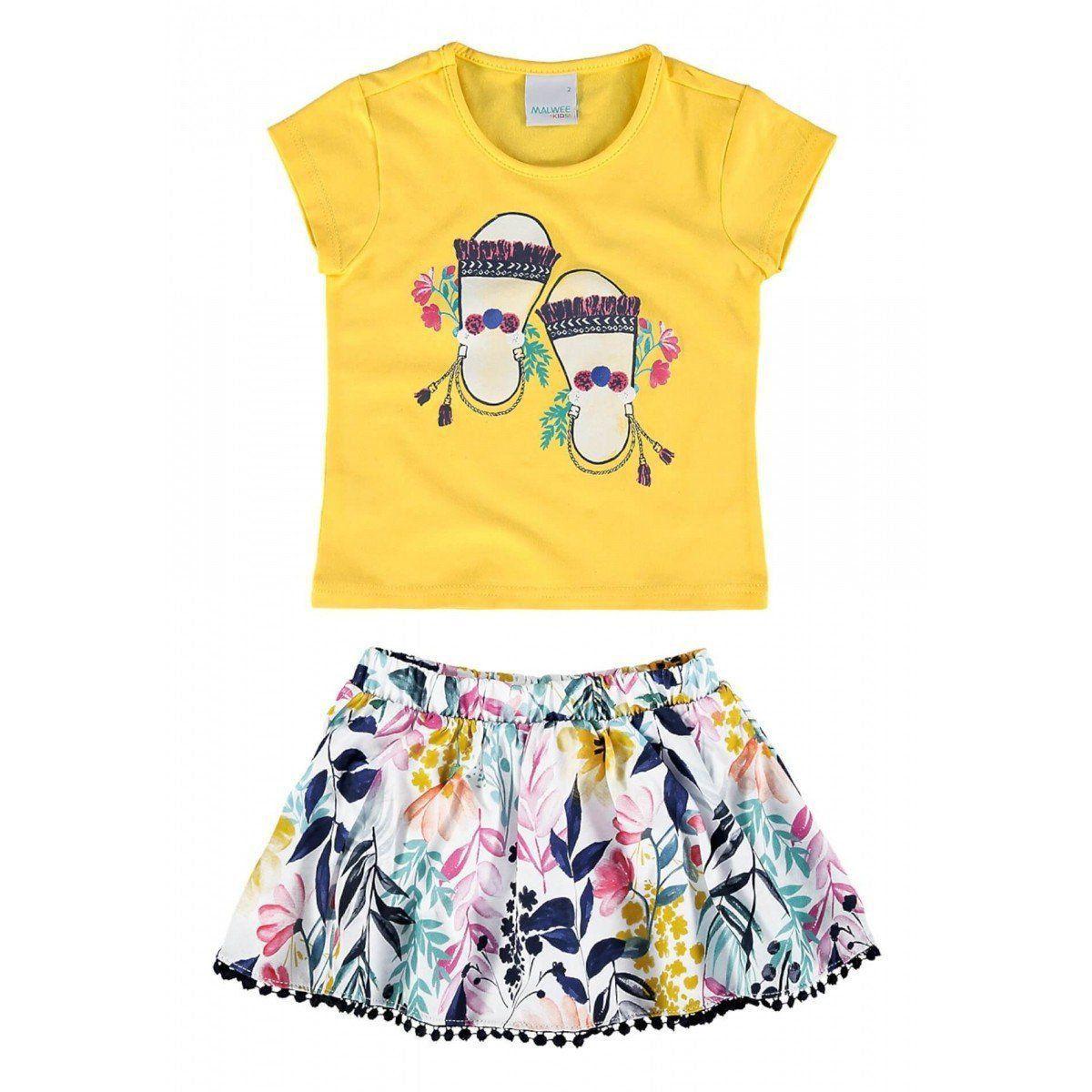Conjunto Infantil Feminino Amarelo Sandálias Malwee