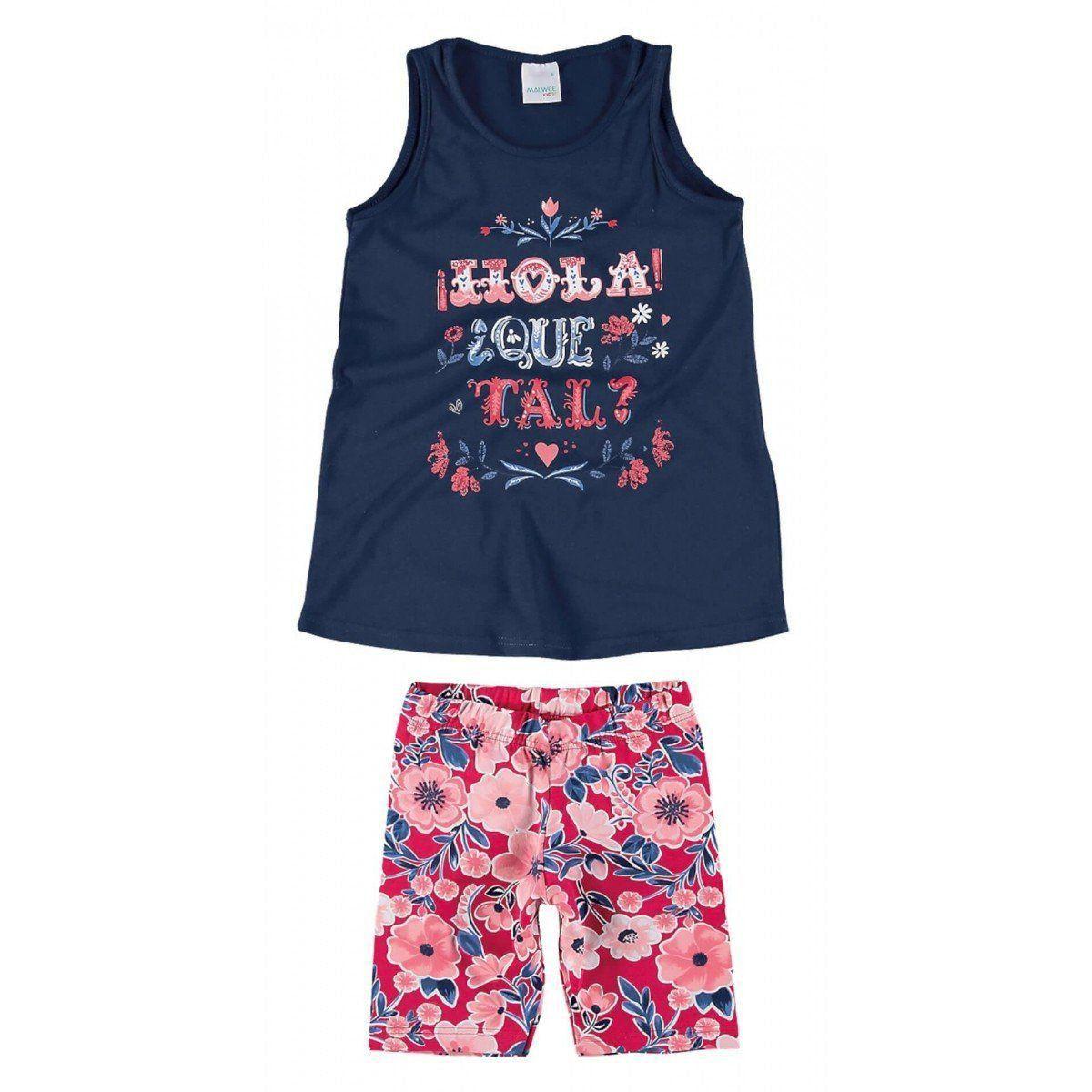 Conjunto Infantil Feminino Azul Marinho Hola Que Tal? Malwee