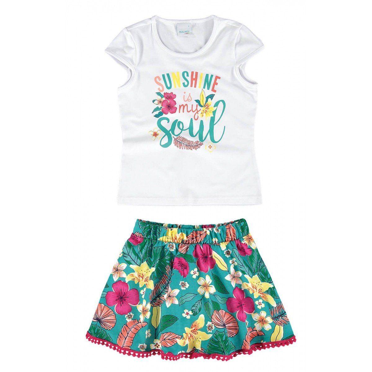 Conjunto Infantil Feminino Branco Sunshine Malwee
