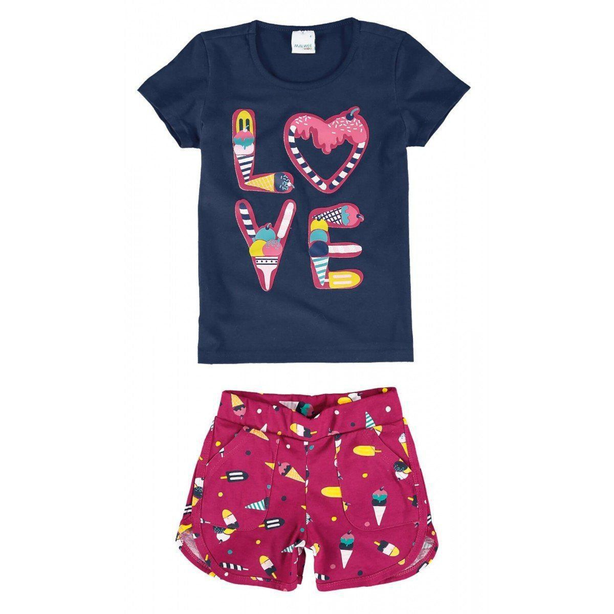 Conjunto Infantil Feminino Azul Marinho Love Malwee