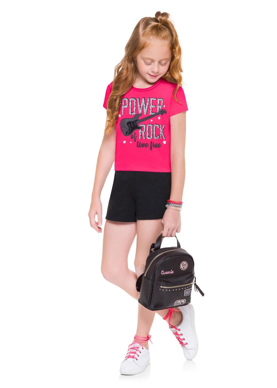 Conjunto Infantil Feminino Short e Camiseta Rosa Carmim - Kyly