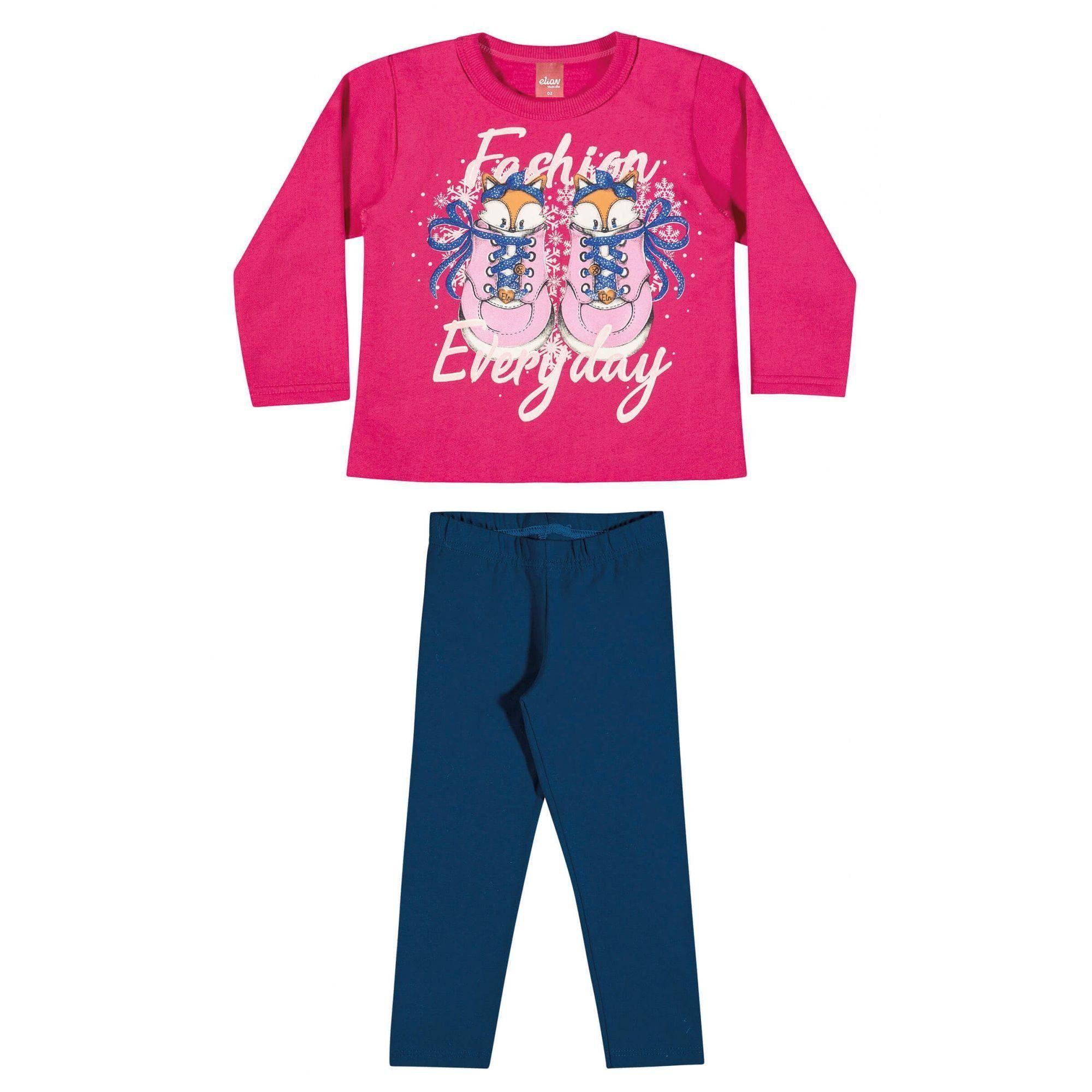 Conjunto Infantil Feminino Inverno Rosa Fashion Elian