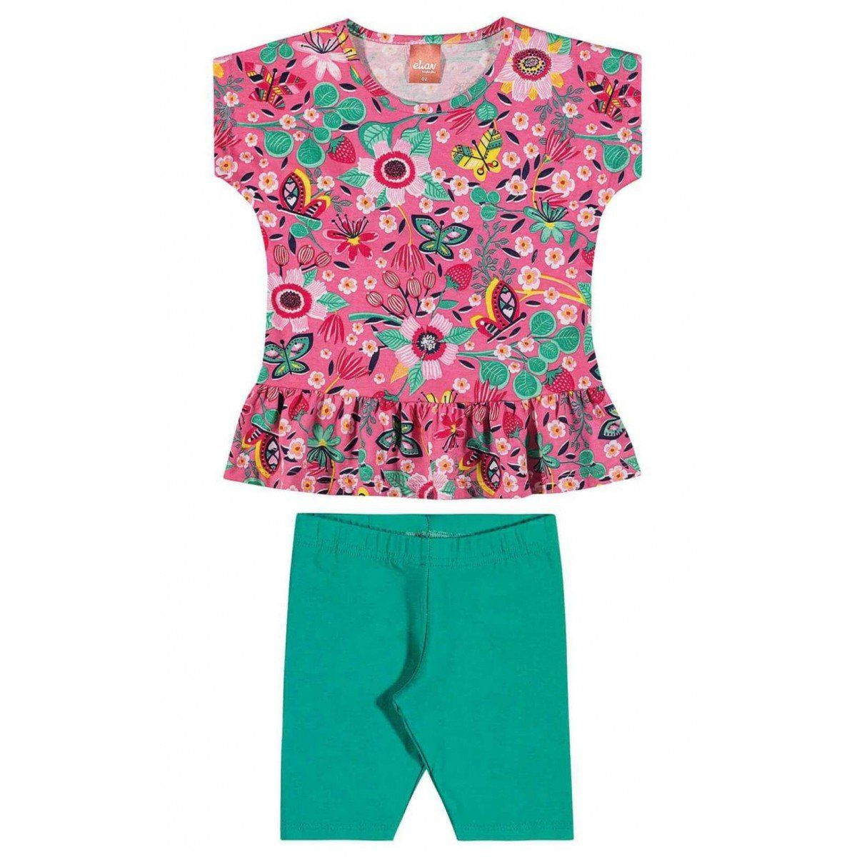 Conjunto Infantil Feminino Rosa Floral Elian