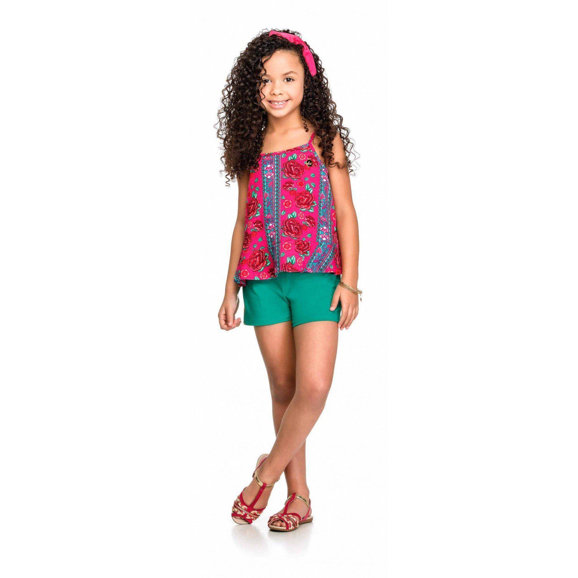 Conjunto Infantil Feminino Rosa Flores Elian
