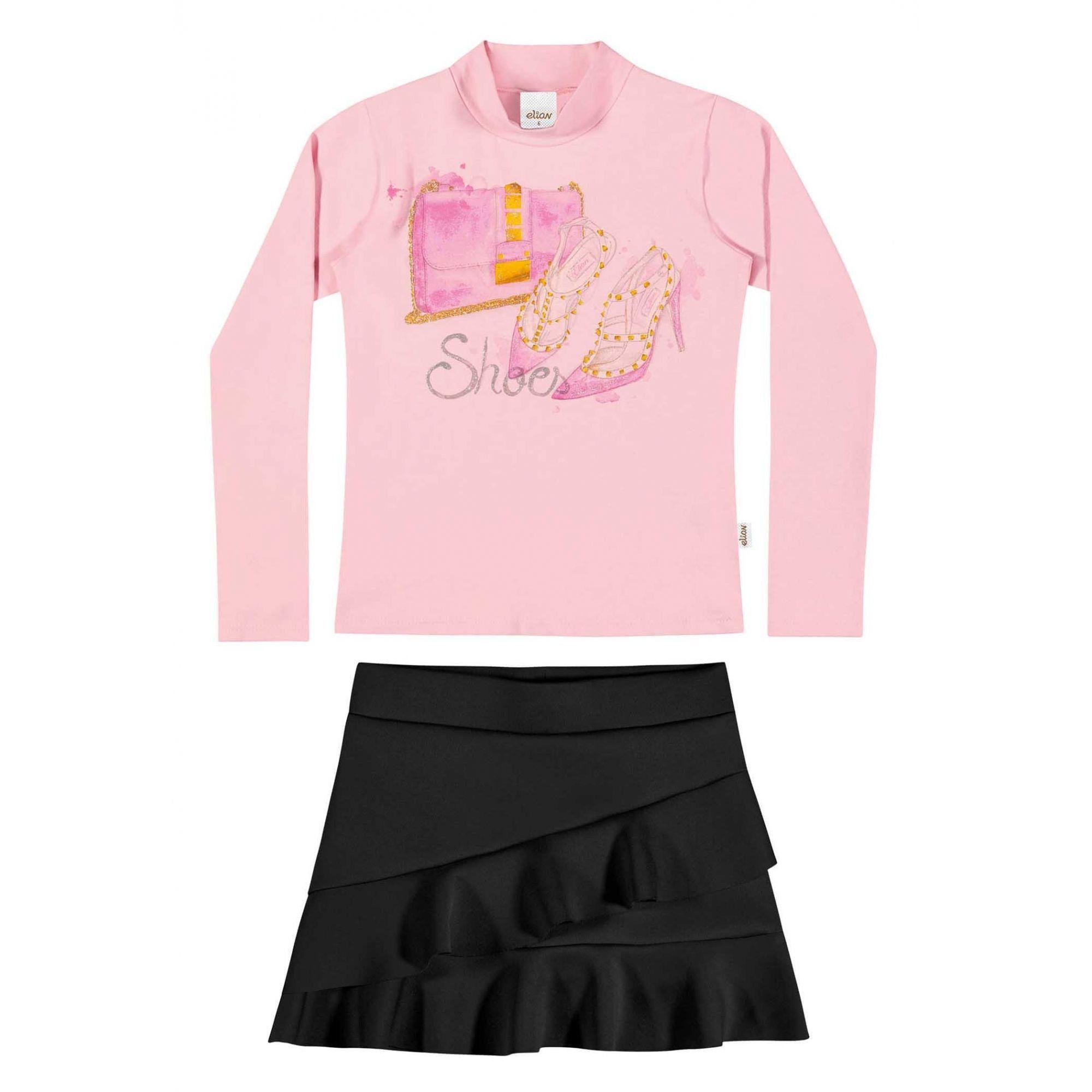 Conjunto Infantil Feminino Inverno Rosa Shoes  Elian