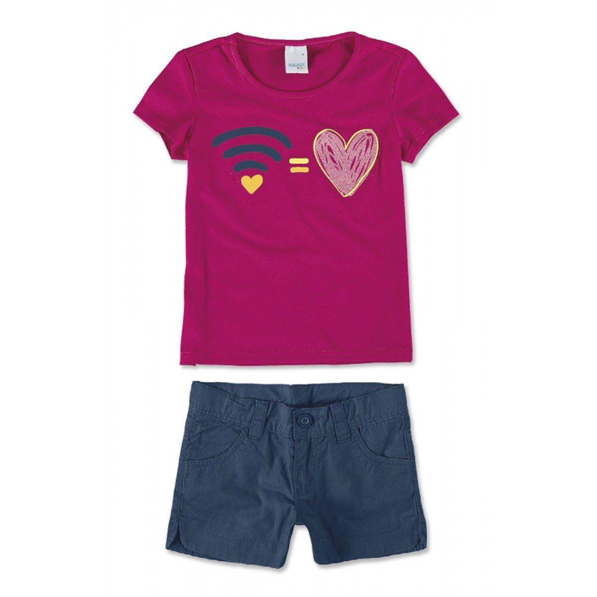 Conjunto Infantil Feminino Rosa Wifi Malwee