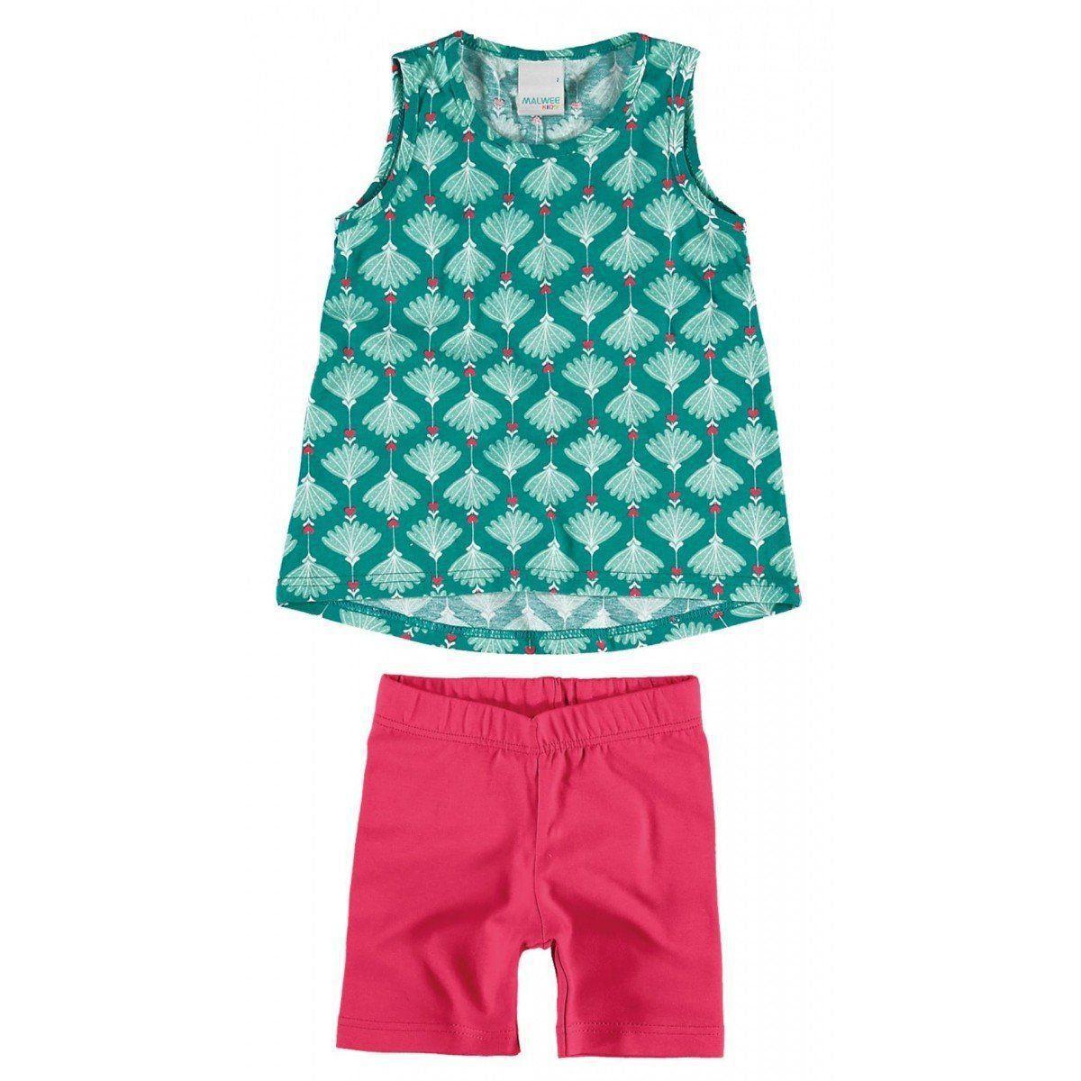 Conjunto Infantil Feminino Verde Água Pétalas Malwee