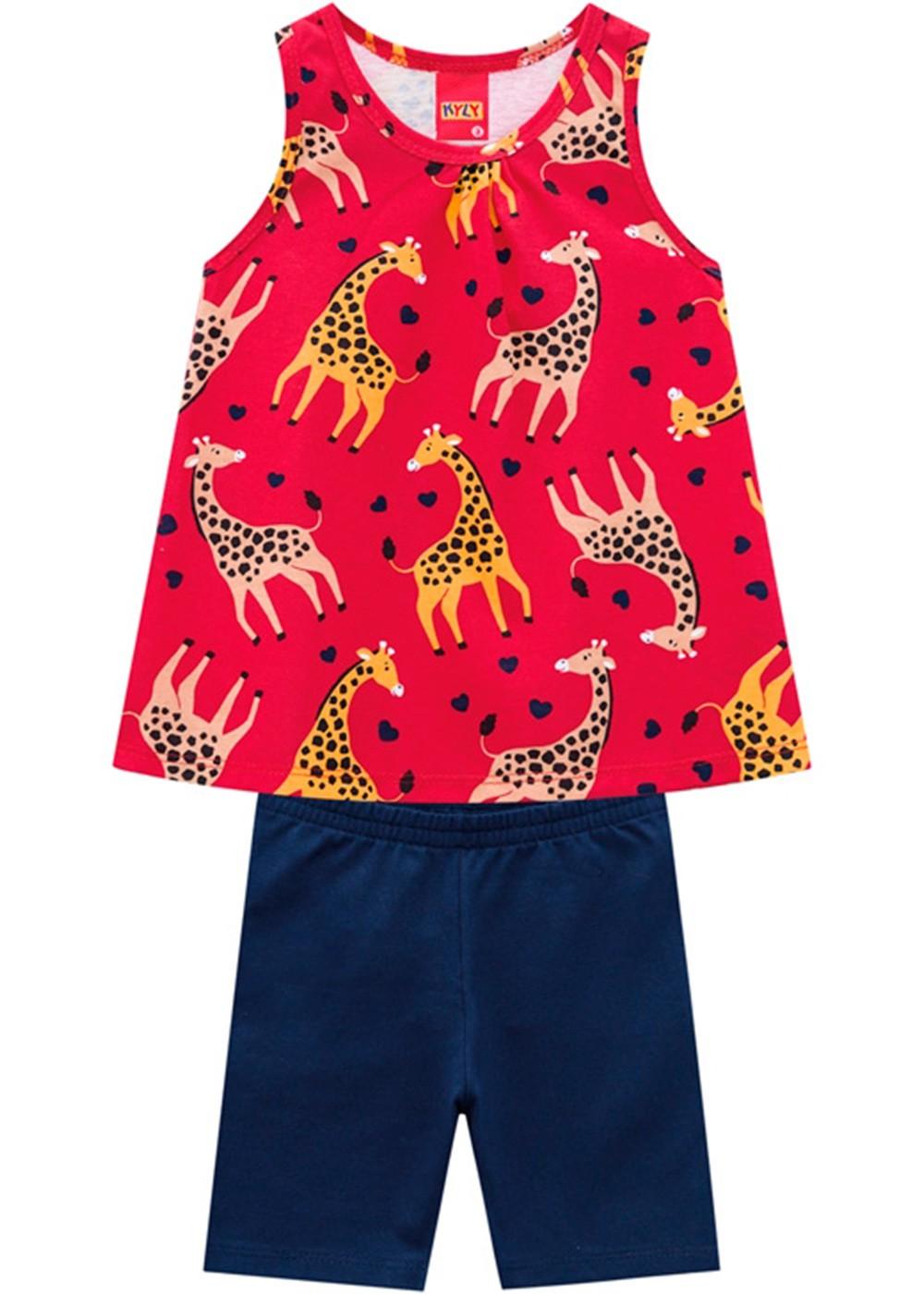 Conjunto Infantil Feminino Short e Camiseta Estampado Vermelho – Kyly
