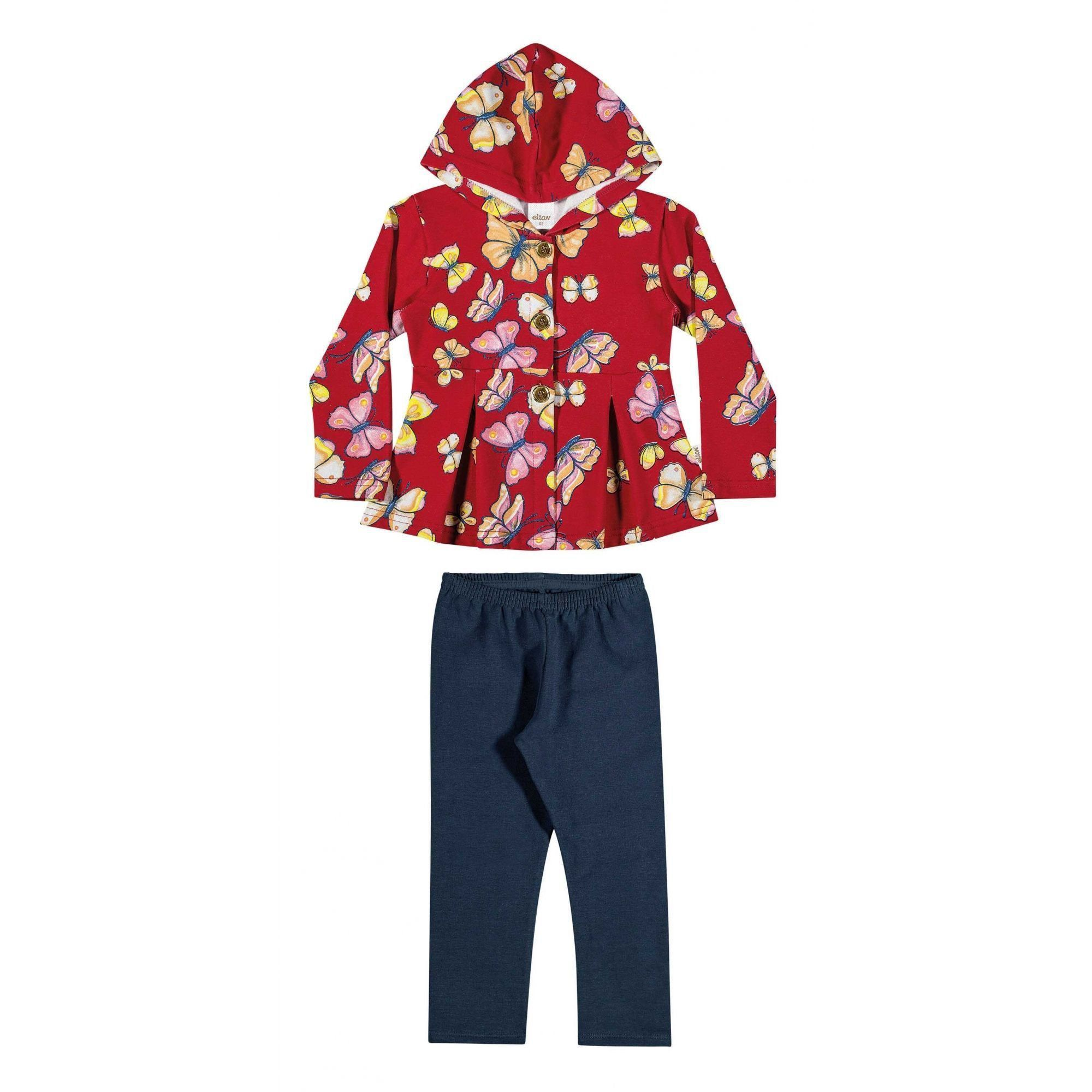 Conjunto Infantil Feminino Inverno Vermelho Borboletas Elian