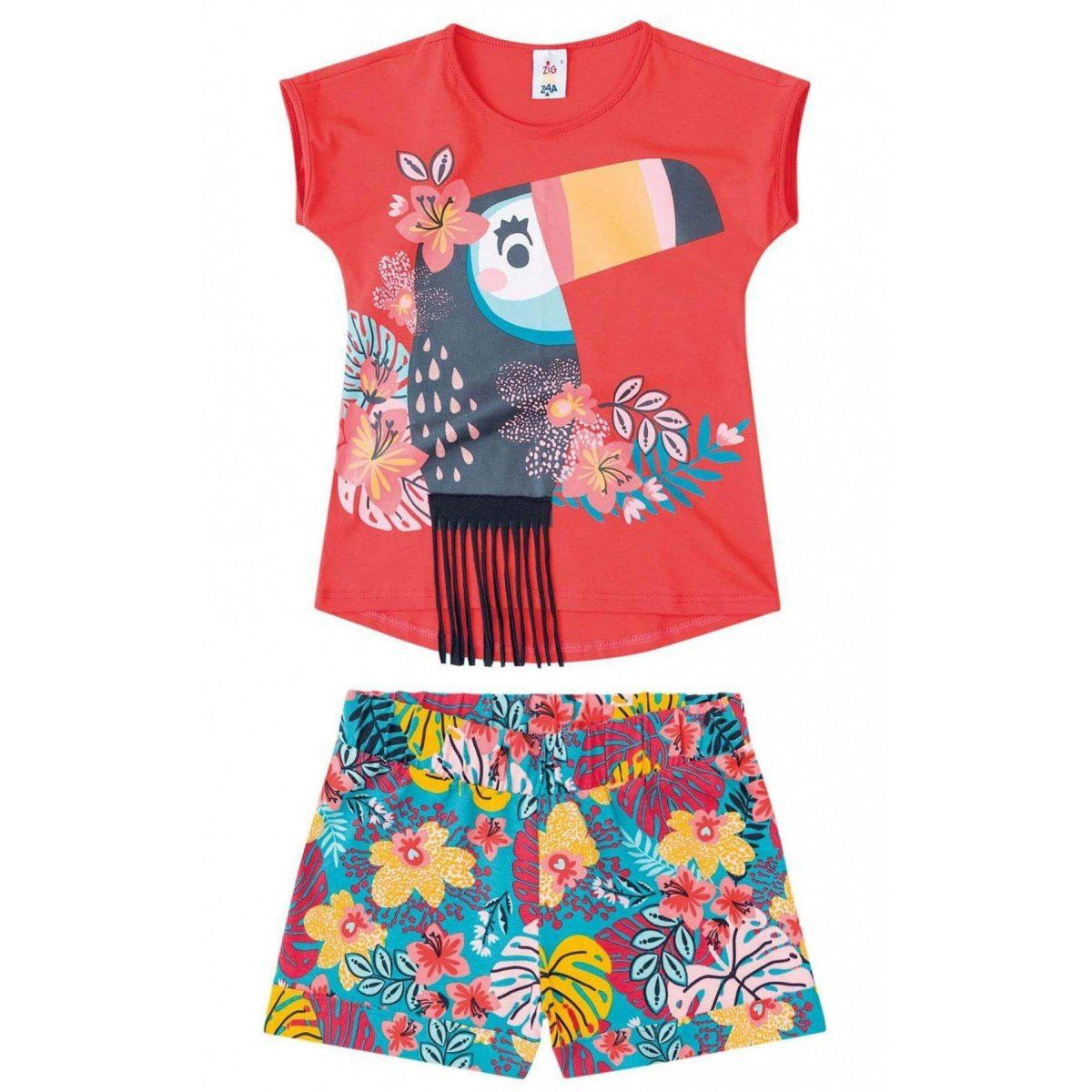 Conjunto Infantil Feminino Vermelho Tucano Zig Zig Zaa
