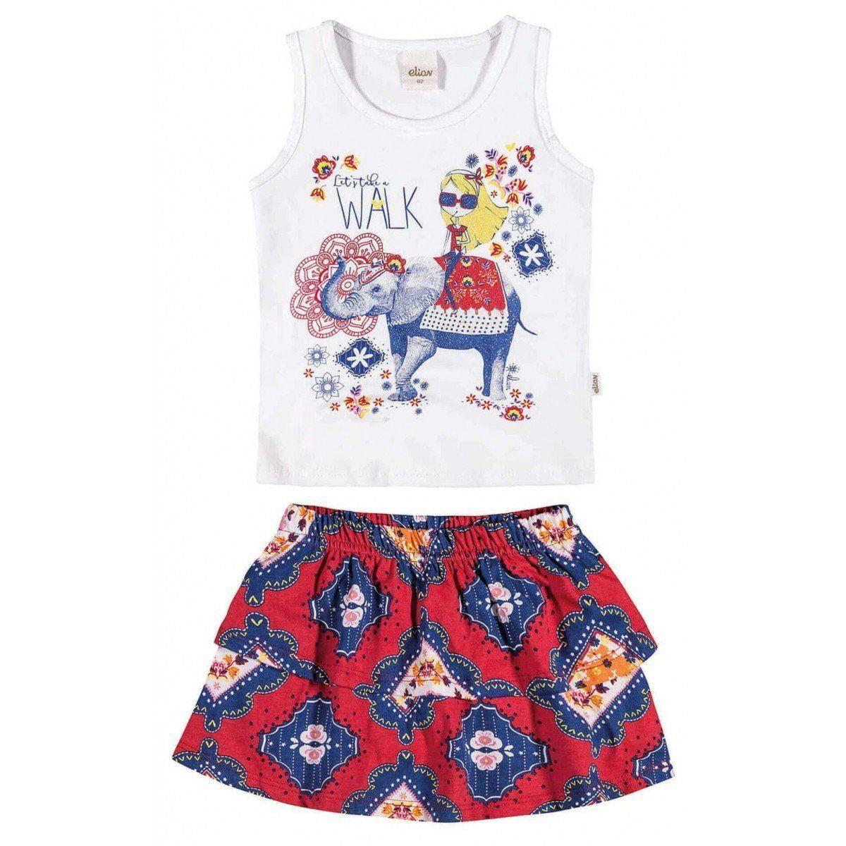 Conjunto Infantil Feminino Vermelho Walk Elian