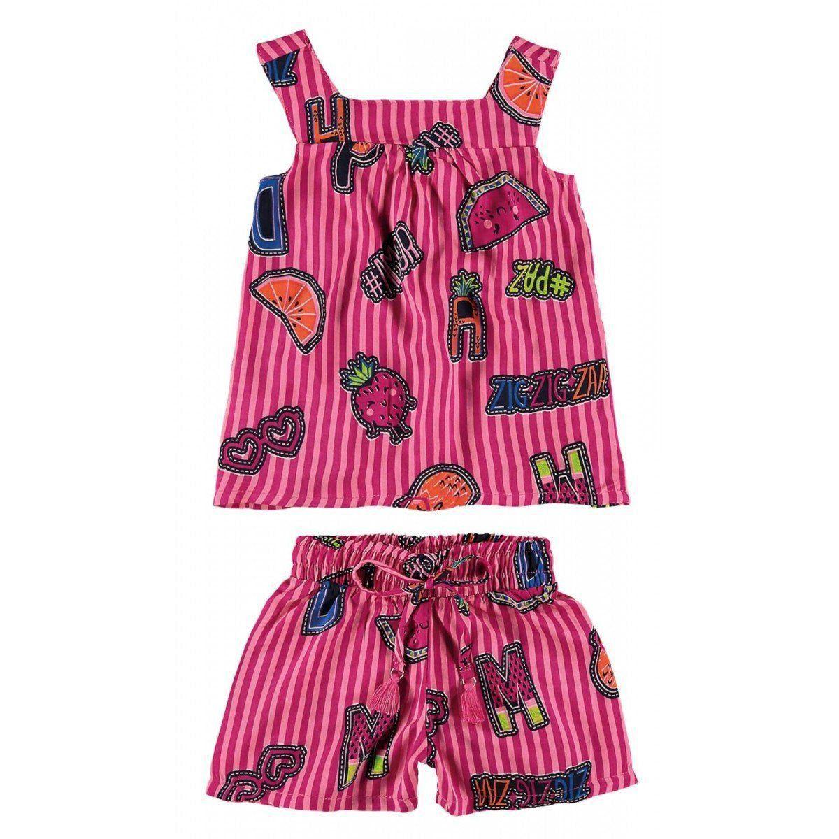 Conjunto Infantil Feminino Rosa Frutinhas Zig Zig Zaa