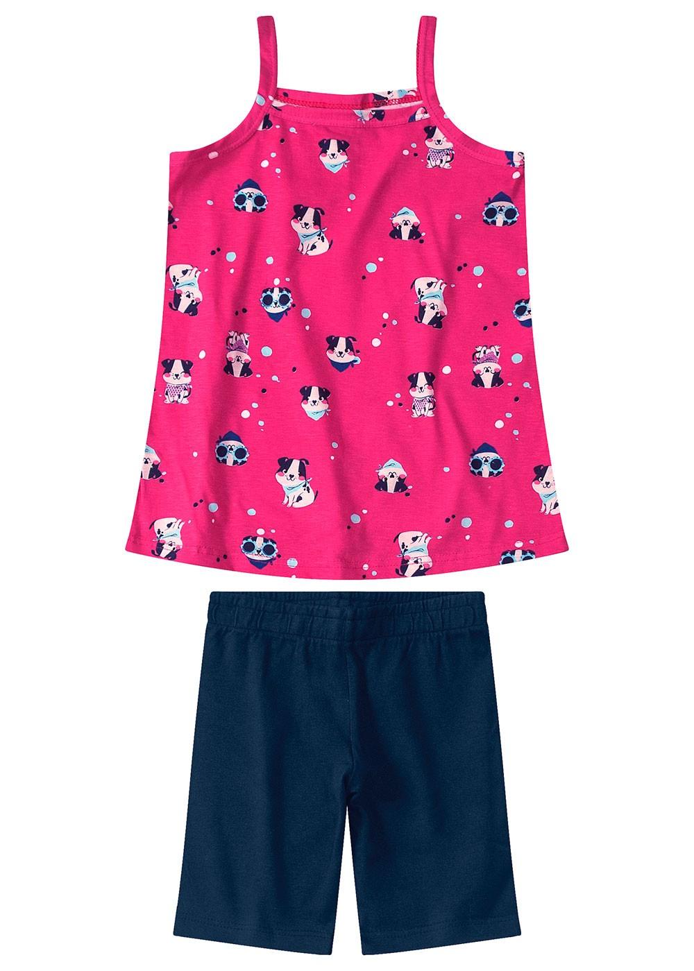 Conjunto Infantil Feminino Rosa - DOG - Malwee