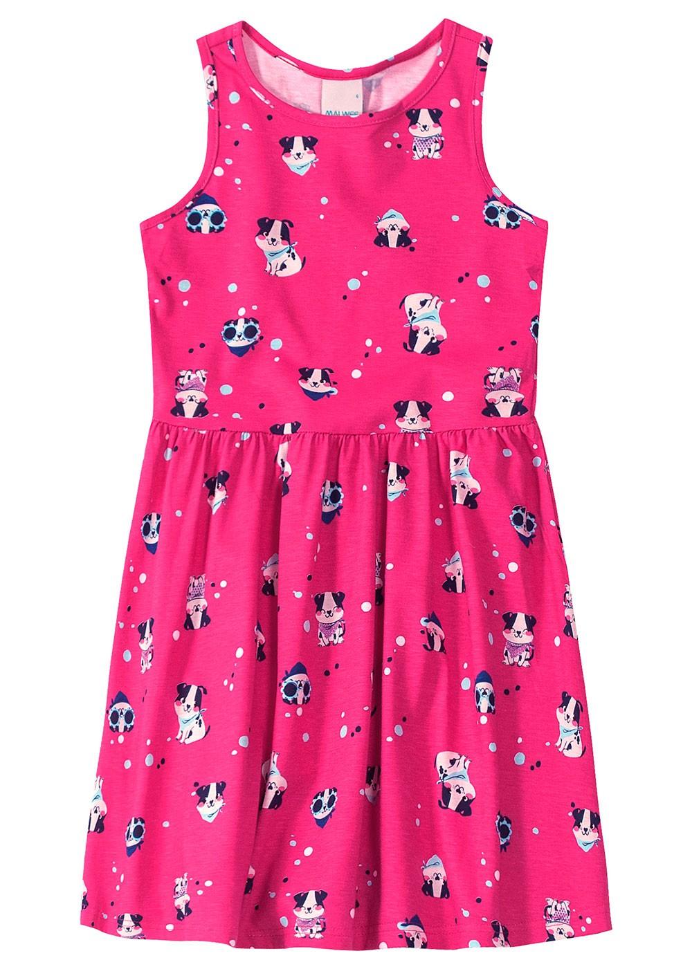 Vestido Infantil Pink Cachorrinho - Malwee