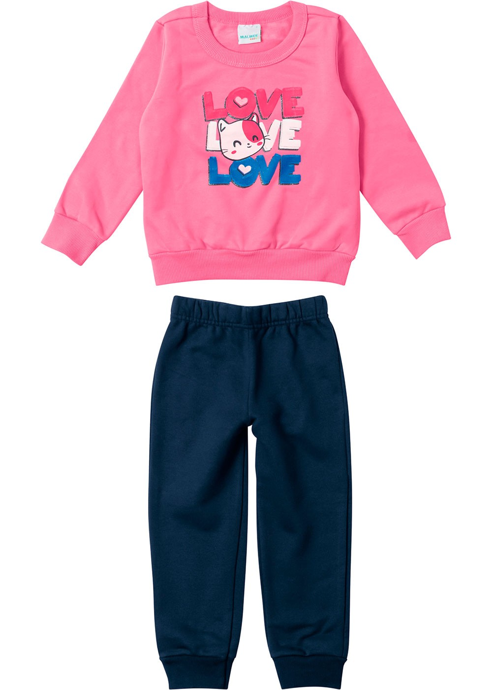 Conjunto Infantil Feminino Inverno Rosa Love Malwee