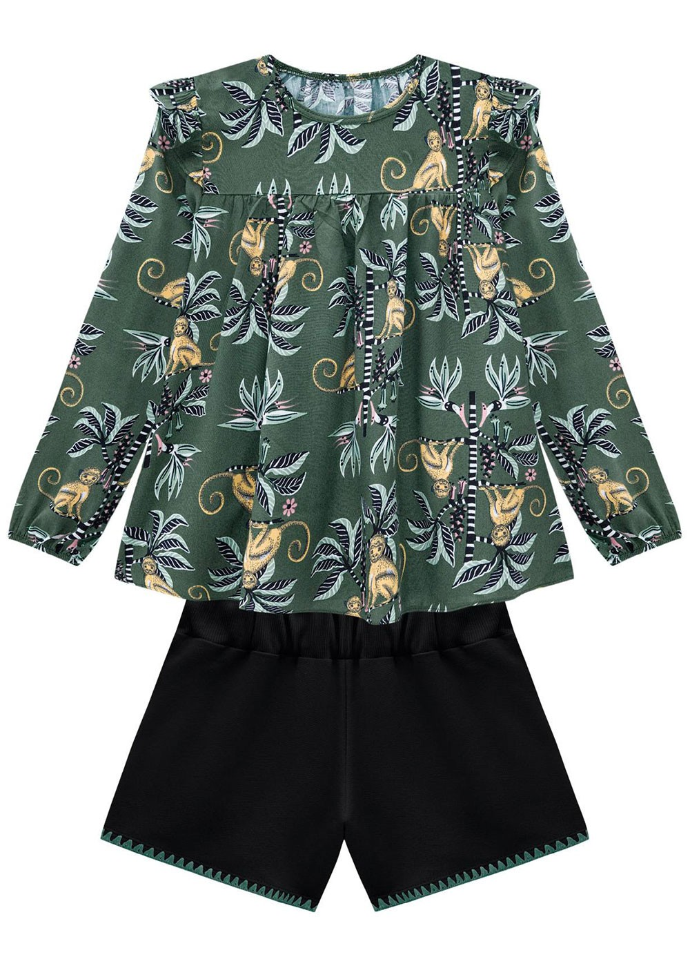 Conjunto Infantil Feminino Verde Estampado Nanai