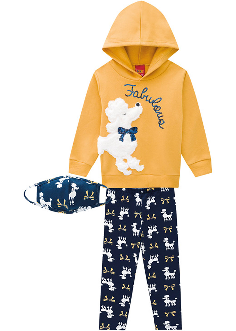 Conjunto Infantil Feminino Amarelo Inverno Poodle Kyly