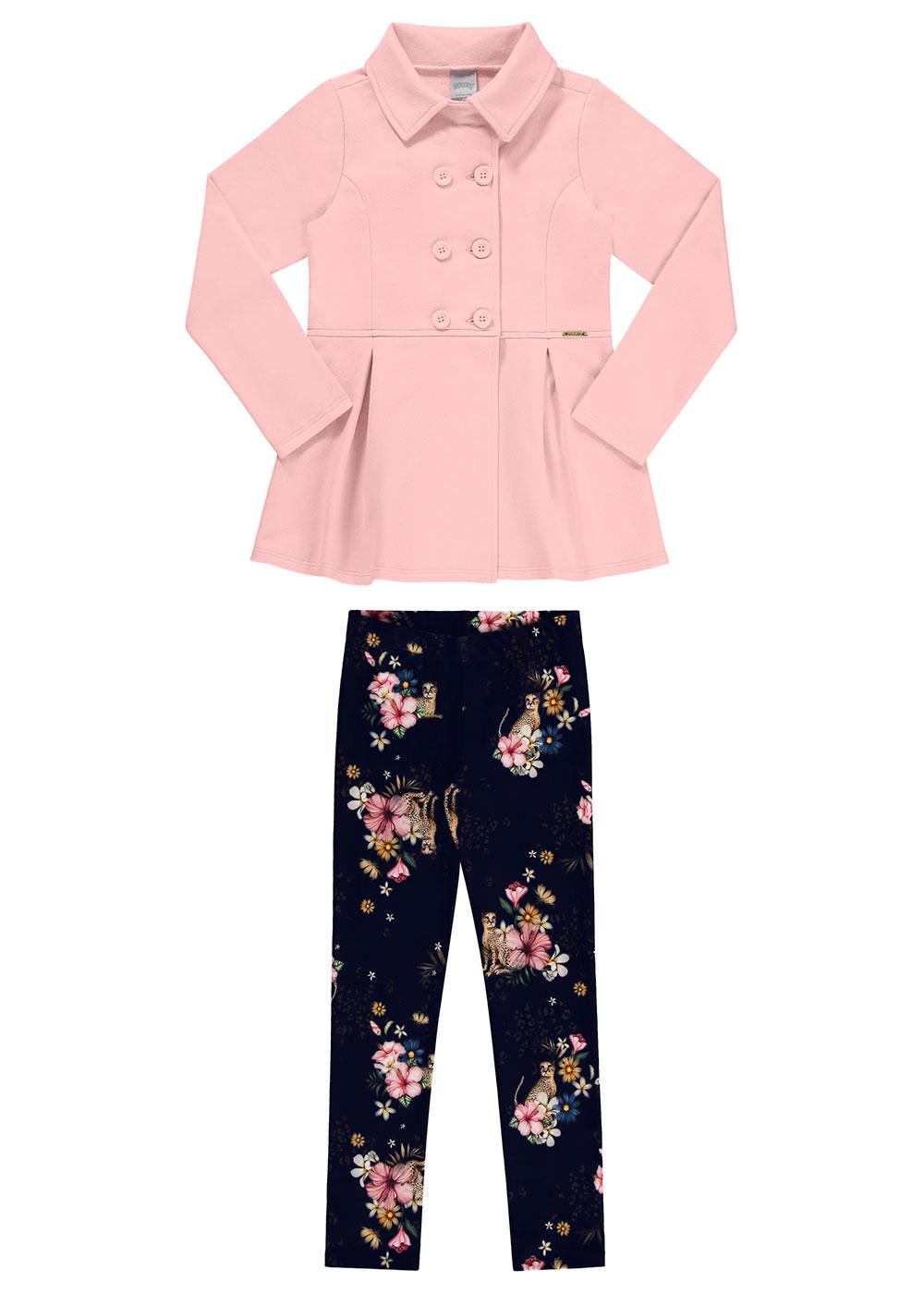 Conjunto Infantil Feminino Rosa Inverno Alakazoo