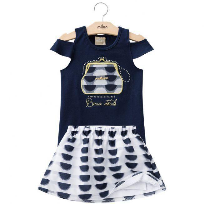 Conjunto Infantil Feminino Azul Marinho Bolsa Milon