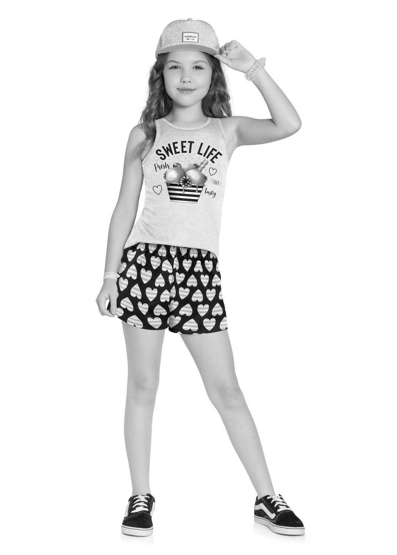 Conjunto Infantil Feminino Short e Camiseta Azul Marinho - Kyly