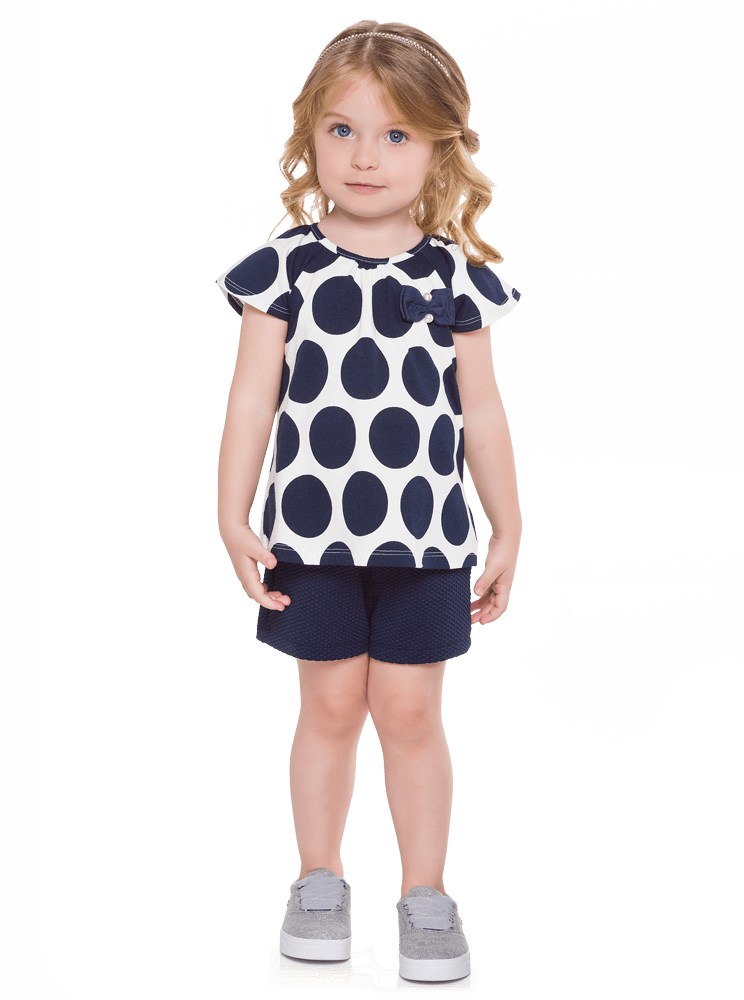 Conjunto Infantil Feminino Azul Marinho Poá Milon