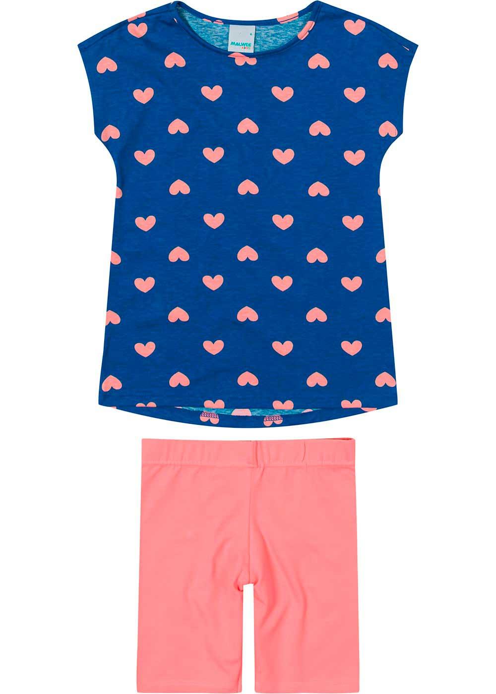 Conjunto Infantil Feminino Curto Azul Hearts - Malwee