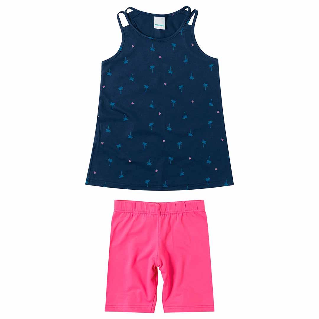 Conjunto Infantil Feminino Malwee Curto Azul Palm