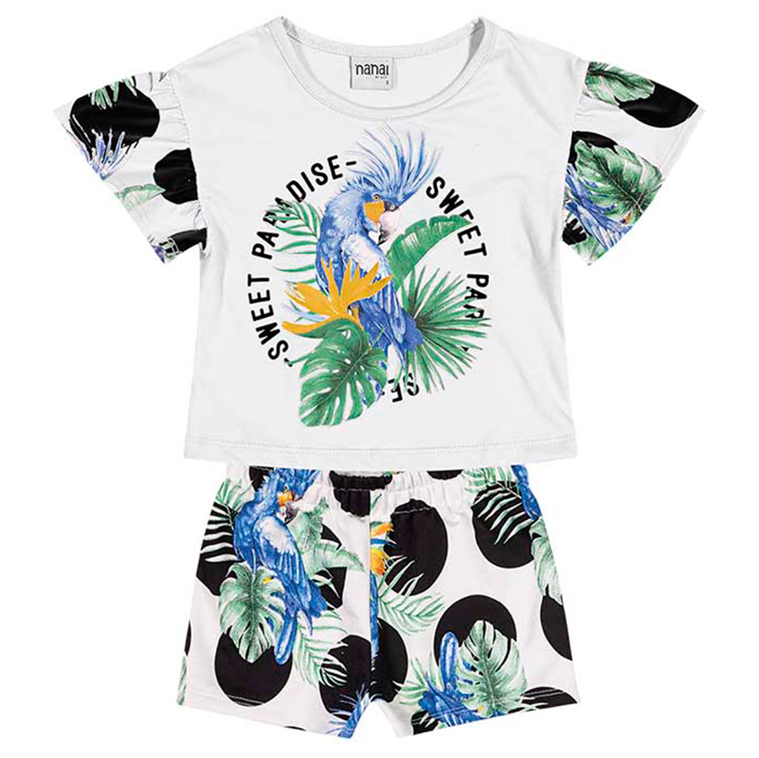Conjunto Infantil Feminino Curto Branco Paradise - Nanai