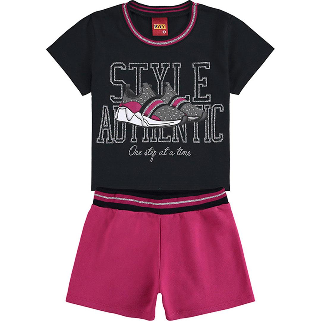 Conjunto Infantil Feminino Curto Preto Style - Kyly