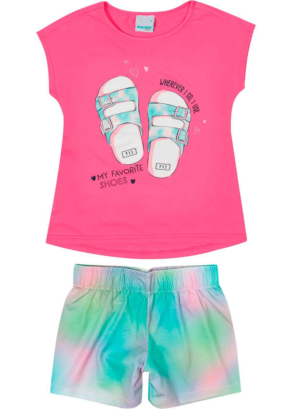 Conjunto Infantil Feminino Curto Rosa My Favorite - Malwee