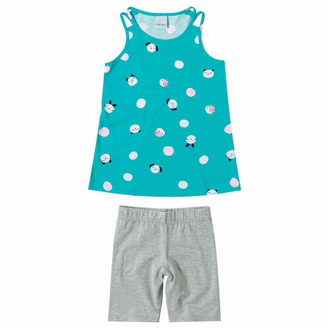 Conjunto Infantil Feminino Malwee Curto Verde Cute
