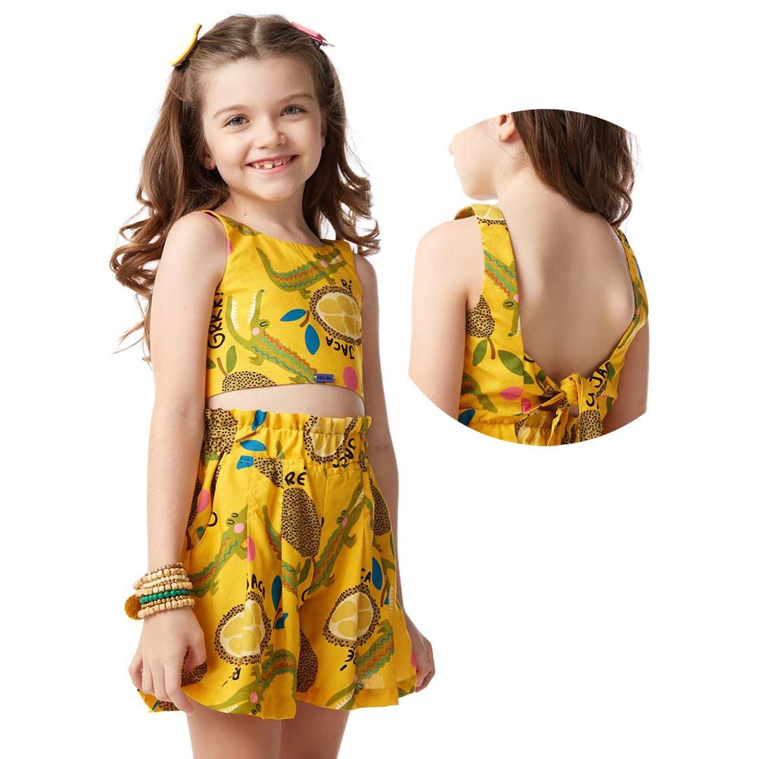 Conjunto Infantil Feminino Infantil Jacare Amarelo - Camu Camu