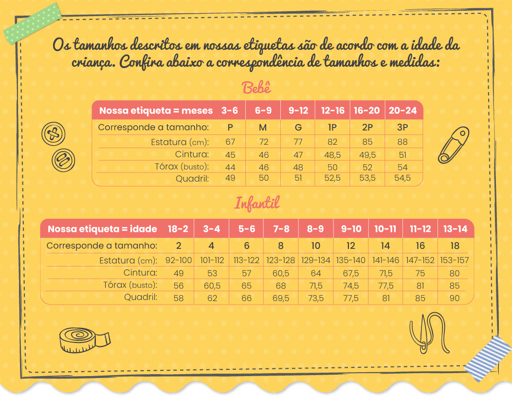 Conjunto Infantil Feminino Infantil Jacare Amarelo - Camu Camu: Tabela de medidas