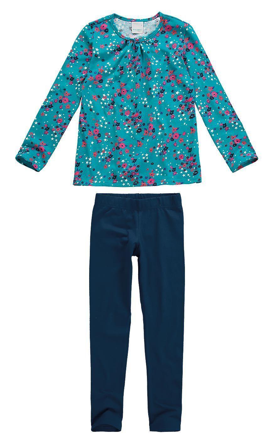 Conjunto Infantil Feminino Inverno Azul Floral Malwee