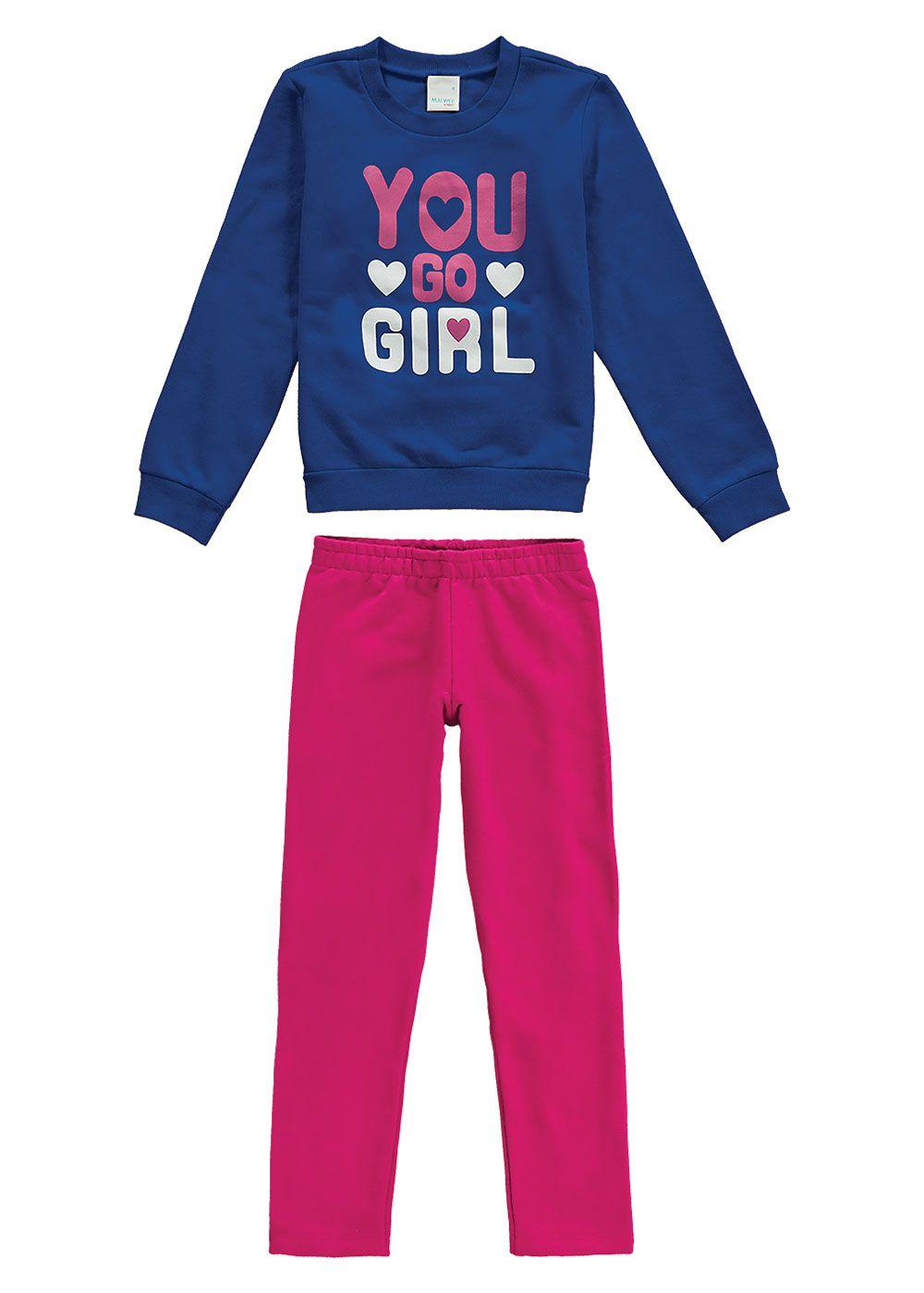Conjunto Infantil Feminino Inverno Azul You Malwee