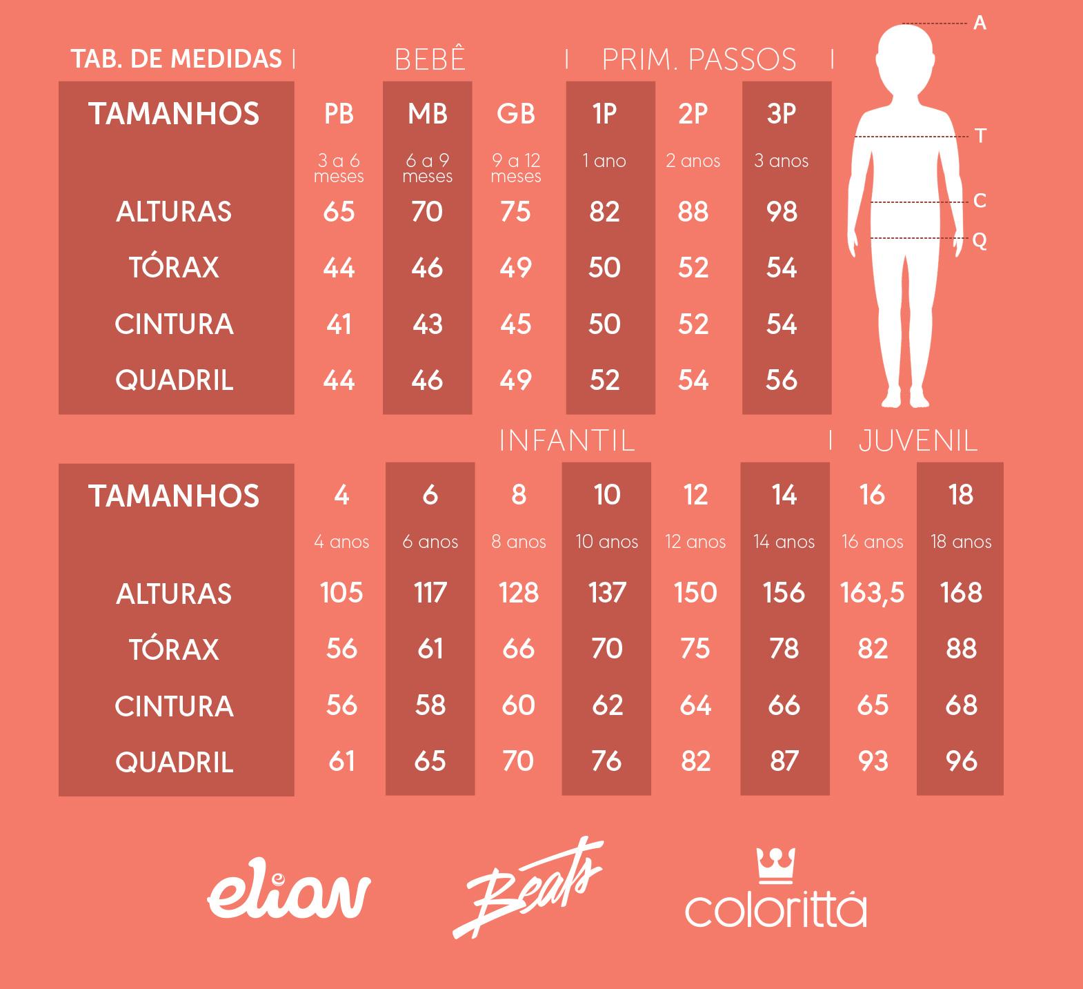 Conjunto Infantil Feminino Inverno Cinza Anything - Elian: Tabela de medidas
