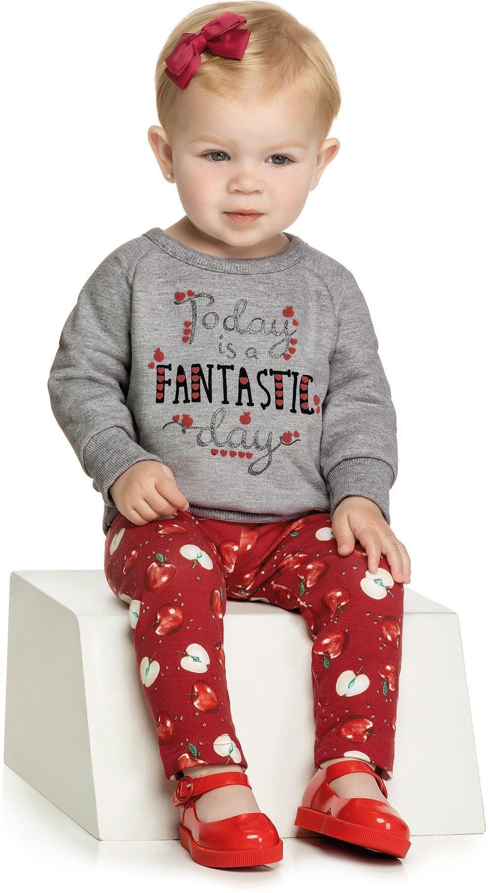 Conjunto Infantil Feminino Inverno Cinza Mescla Fantastic Elian