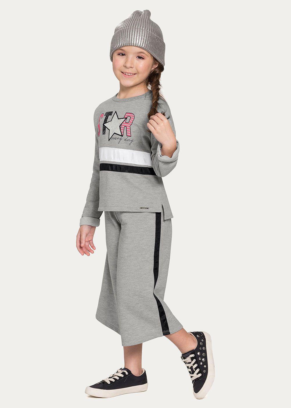 Conjunto Infantil Feminino Inverno Cinza Star Alakazoo