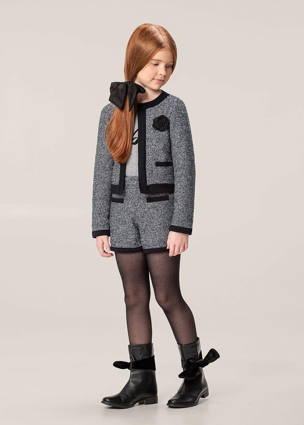 Conjunto Infantil Feminino Inverno Cinza Tweed Carinhoso